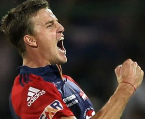 Delhi Daredevils' Morne Morkel celebrates the dismissal of Rajasthan Royals' Brad Hodge in the IPL