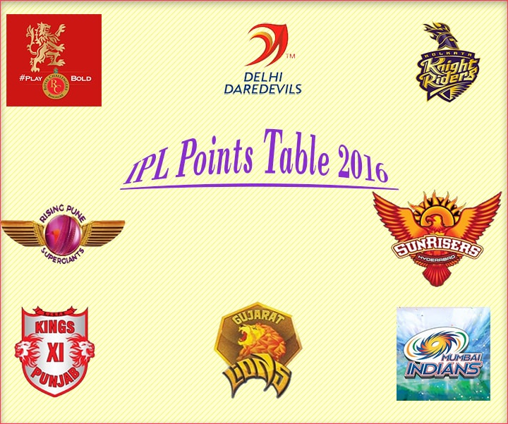 IPL T20 2016 points table
